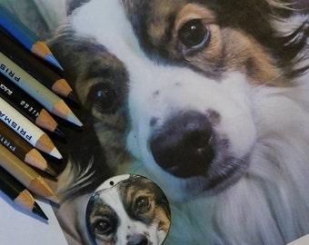 Custom Hand Drawn Pet Portrait Pendant
