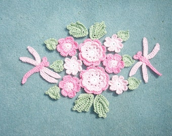 thread crochet applique flowers, leaves, and dragonflies  --2498