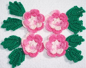 4 handmade pink thread crochet applique flowers with 8 leaves  --2517