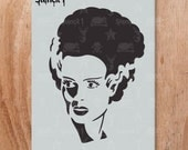 Bride of Frankenstein Stencil- Reusable Craft & DIY Stencils- S1_01_HW_7 -8.5x11- By Stencil1