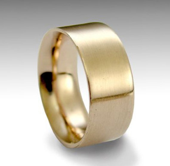 Solid Gold wedding band, Mens band,  simple Womens Ring, Unisex Wedding Band, 14k Wide Wedding Band, Brushed Gold Ring - Perfect day RG1080
