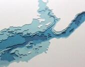 Great Sacandaga Lake - original 8 x 10 papercut art in your choice of color