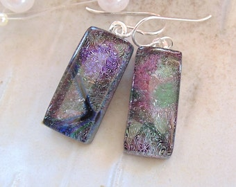 Fused Dichroic Glass Earrings, Dangle, Fused Glass Jewelry, Purple, Green, A3