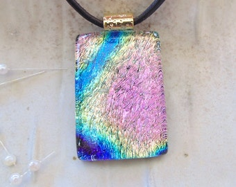 Dichroic Glass Pendant, Necklace, Fused Glass Jewelry, Pink, Cobalt Blue, Aqua, Necklace Included, A12