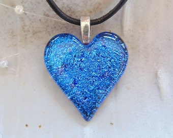 Fused Dichroic Heart Pendant, Glass Jewelry, Blue, Purple, Necklace Included