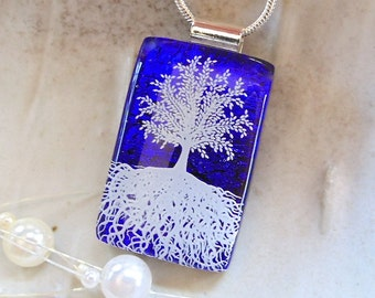 Tree of Life Dichroic Glass Pendant, Cobalt Blue Necklace, Fused Glass Jewelry, Enamel, Necklace Included, A2