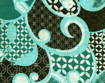 Teal And Brown Shinny Swirl Design Fabric 1 1/2 Yards