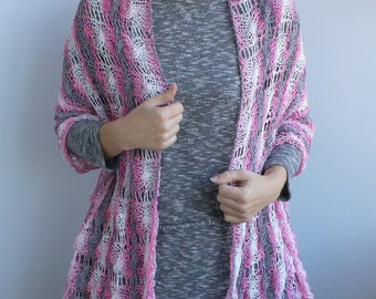 Free shipping, gift for her, Cotton pink/white/grey melange scarf-shawl-wrap, lace knitting