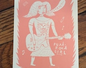 pink PUNK ROCK GIRL Calendar for 2017 Hand Printed Letterpress small gift