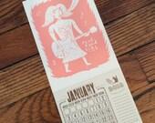 pink PUNK ROCK GIRL Calendar for 2017 Hand Printed Letterpress small gift