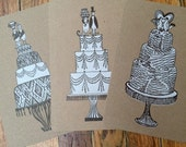 3 WEDDING cards of CAKE with Bird Toppers Hand Printed Letterpress Cards/Prints