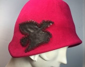Raspberry Red Cloche Hat-1920s Cloche Hat for Women-HANDMADE by Anne DePasquale