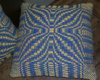 Hand Woven Pillow in Large Blooming Leaf Design