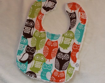 Swedish Owls Fabric and Chenille Boutique Bib