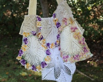 Purple Pansy Purse, Tattered Lace Vintage Linens Bag,Doily Purse, Vintage Lace Pansy Doilies, Messenger bag,One of a Kind