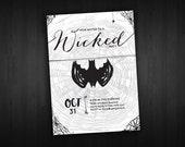 DIY Printable Classy Halloween Bat Party Invitation