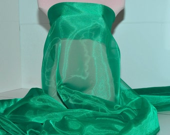 "Iridescent Organza fabric 60"" wide.. sheer, Emerald 5641  .. formal wear, bridal, pageant, crafts, costumes, home decor"