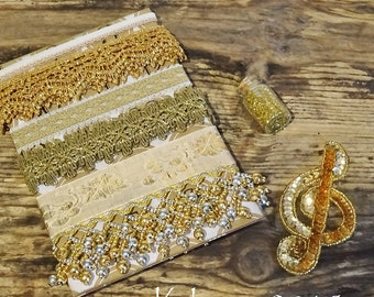 Christmas Gold - laces and trims - German glass glitter - vintage inspiration kit - NO 187
