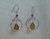 Brown Murano Glass Teardrop Peruvian Style Earrings