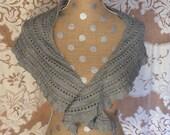 Scarf Shawl Women's Handknit Gray Wool Scarf or Shawlette