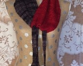 Cowl Neckwarmer Handknitted Women's Neck Cozy Red and Black