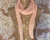 Scarf Women's Hand Crocheted Pink Wool Long Scarf