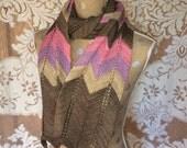 Scarf Women's Hand Knitted Chevron Stripe Long Wool Scarf