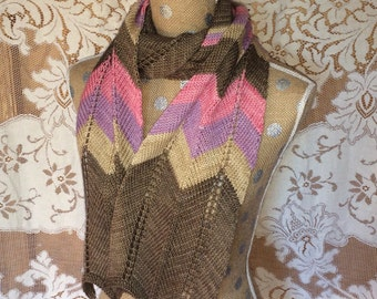 Scarf Women's Hand Knitted Chevron Stripe Long Wool Scarf
