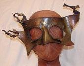 "Leather Masks for Halloween Mardi Gras Comedia Del Arte Masquerade OOAK ""EMBERS GLOW"" Handmade by Debbie Leather"