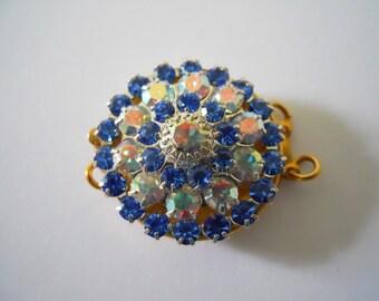 Vintage Brass Swarovski Crystal Clasp 2 Strand