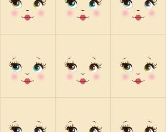 Sweet and simple cloth doll faces ready to sew fabric panel cream A8R4