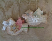 Birdie 2pc Set Wood Ornaments, Hand Cut and Created, Papered Wings, Glittered, Snowflakes, Original Design, ECS