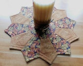 Rich Cinnamon Colored leaves Reversible Candlemat; Miniature Quilt; Small Quilt;Table mat