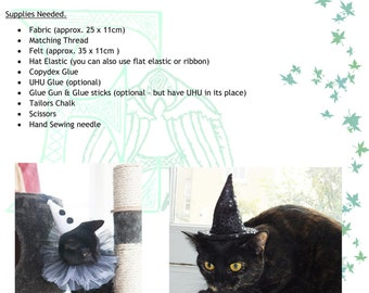 Pet Cat Dog Witch Clown Santa Hat Tutorial & Pattern with FREE Neck Ruff Tutorial, Halloween, Costume, Christmas