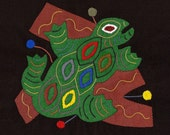 FROG SALE - Fabulous Folk Art Frog Series Mola # 2 - Hand Sewn Kuna Indian Applique
