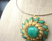 Terre Verte Necklace - vintage repurposed gold and jade glass floral pendant on gold metal memory wire necklace - Free Shipping to USA