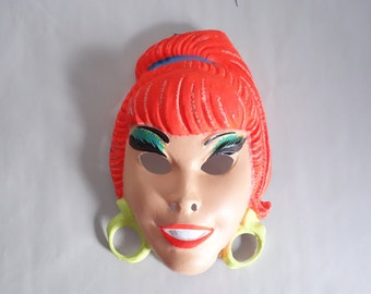 60s I Dream of Jeanie Mask Vintage Vacuform Halloween Mask Cute TV Sitcom Character Collectible Wall Hanging Display