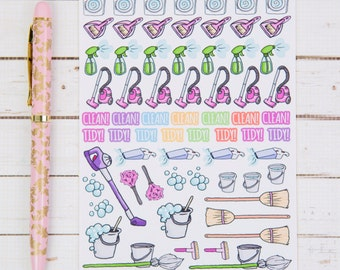 Cleaning Housework Reminders GLOSS Sticker Sheet | For Kikki K, FiloFax or other Journals and  Planners