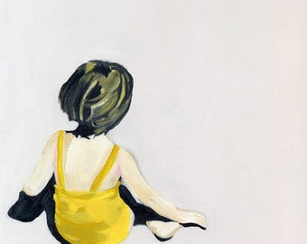 "SALE Girl in the Yellow Suit 18""x18"""