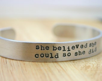 Wide She Believed She Could So She Did bracelet - Inspirational quote cuff bracelet, Back to School Gift for Daughter, Encouragement Jewlery