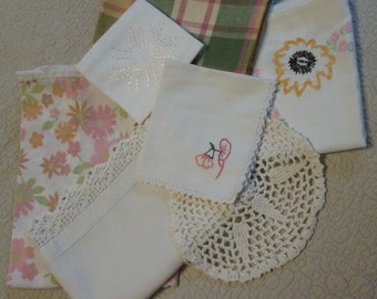Vintage Linens Cutter Lot - 7 Pieces Assorted - Pink Yellow Green