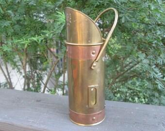 Vintage Fireplace Matchstick Holder - Brass and Copper Match Holder