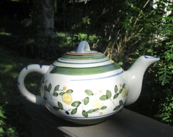 Vintage Hand Painted Ceramic Teapot - Yellow and Green Lemons