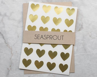 96 Mini Gold Heart Stickers, Heart Labels, Valentine's Day Stickers, Valentines Stickers, Metallic Stickers, Gold Stickers