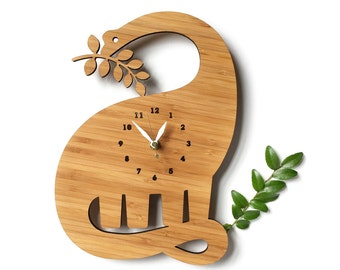 Modern wall clock, Kids clock, Dinosaur Clock, jurassic, diplodocus