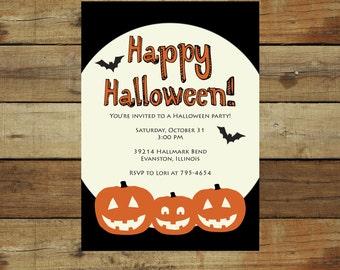 Three little pumpkins Halloween Party invitation, spider web, printable Halloween party invitation, trick or treat invitation