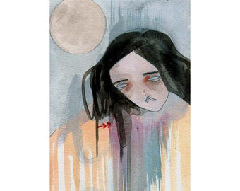 original painting on paper-moon child