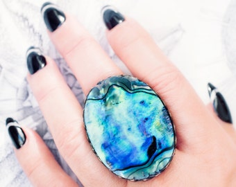 paua abalone shell ring mermaid beach boho festival