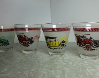 Automobile Classic Shot Glasses set of 4 Vintage Barware mid century Breweriana