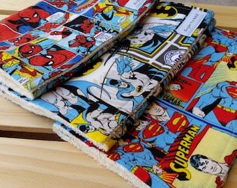 Superhero Burp Cloth Set / Baby Boy Burp Cloths / Superman Burp cloths / Batman Burp Cloths / Spider-Man Burp Cloths